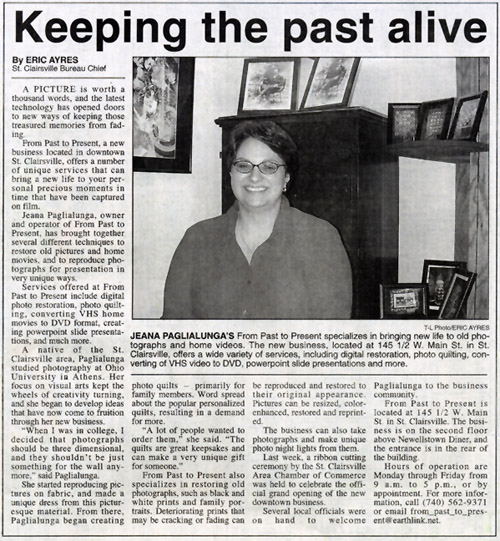 News Article 'Keeping the past alive'