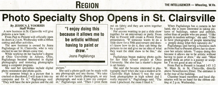 News Article 'Photo Specialty Shop Opens in St. Clairsville'